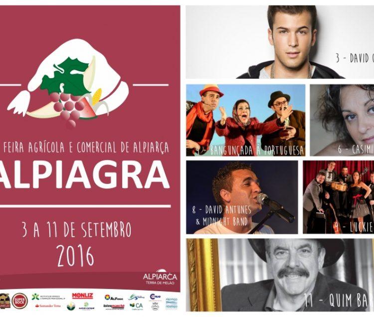 Quim Barreiros, Alpiagra 2016, Alpiarça, Concertos, Programa das Festas