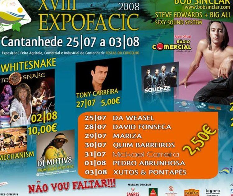 Cantanhede, Expofacic 2008, Cantanhede, concertos, Whitesnake, Blasted Mechanism, Da Weasel, David Fonseca, Mariza, Pedro Abrunhosa, Xutos & Pontapés, Portugal