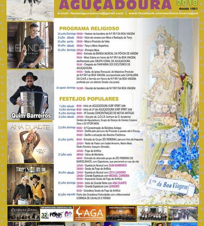 Festas da Aguçadoura, Aguçadora, Nossa Senhora da Boa Viagem, Povoa de Varzim, Porto, festas, norte, Boa Viagem, Festas da Povoa, 2018, Programa, Cartaz